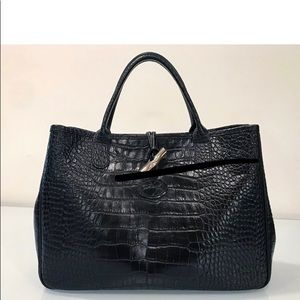 "EUC AUTHENTIC LONGCHAMP ""CROC"" ROUSSEAU BLACK"